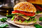 image of beef-burger  - Beef burger with cheese - JPG