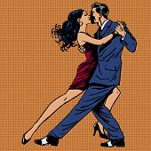 Постер, плакат: Man And Woman Kiss Dance Tango Pop Art