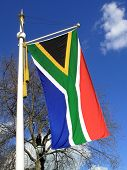 stock photo of south-pole  - National flag of the Republic of South Africa hanging from a pole - JPG