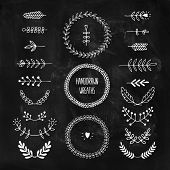 image of laurel  - Set of vector handdrawn laurels and wreaths - JPG