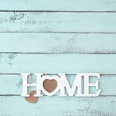 foto of shabby chic  - Painted timber wall decorated with shabby chic wooden letters Home - JPG