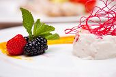 image of blackberries  - souffle from yogurt with strawberry and blackberry - JPG