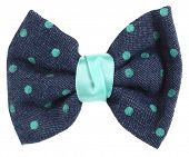 image of bow tie hair  - Hair bow tie blue with turquoise dots - JPG