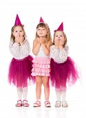stock photo of goodbye  - Cute little girls sends kiss goodbye - JPG