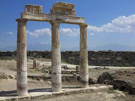 stock photo of artemis  - Columns and ruins of ancient Artemis temple in Hierapolis Turkey - JPG