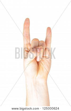 Male hand with devil horns rock metal sign symbol gesture