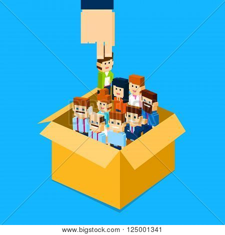 Recruitment Hand Picking Business Person Candidate from Box People Group Human Resources Crowd Flat Vector Illustration