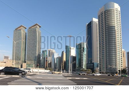 DOHA, QATAR - FEBRUARY 17, 2016: Doha's Dafna business district seen from the Corniche junction.