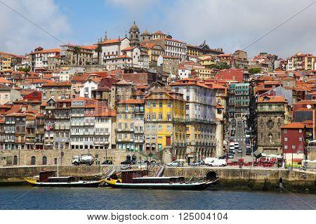 The Ribeira esplanada and the river Douro. Porto is a popular tourist destination in the north of Portugal.