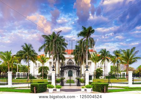 WEST PALM BEACH, FLORIDA - APRIL 4, 2016: The Flagler Museum exterior and grounds. The beaux arts mansion was constructed for Henry Flagler's third wife.