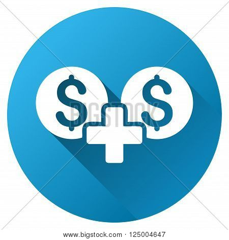 Money Sum vector toolbar icon for software design. Style is a white symbol on a round blue circle with gradient shadow.