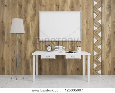 Rectangle frame on wooden wall over table standard lamp on left. Concept of decoration. Mock up. 3D rendering