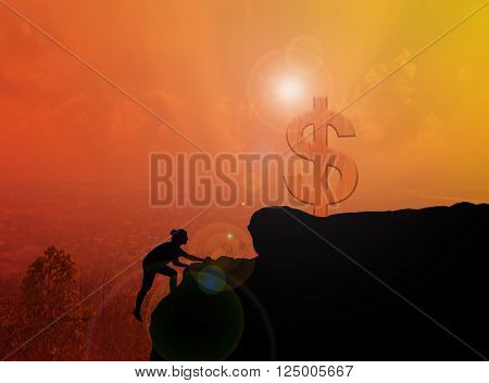 Women silhouette climbing and standing on cliff with blurred city top view and sunlight effect with copy space