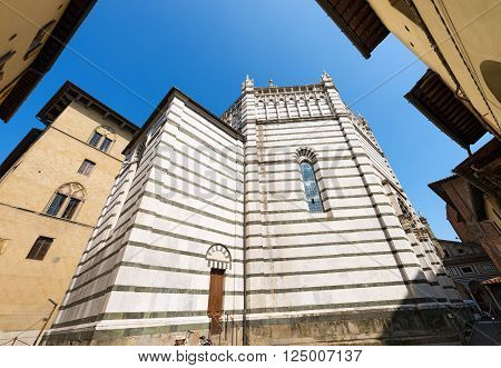 Baptistery of San Giovanni in corte or Ritondo (1303-1361) in Cathedral square (Piazza Duomo). Pistoia Tuscany Italy