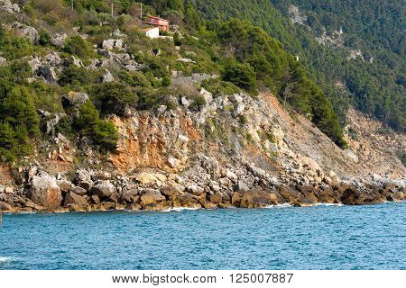 Coastal erosion of the cliffs of the Liguria in Italy