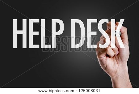 Hand writing the text: Help Desk