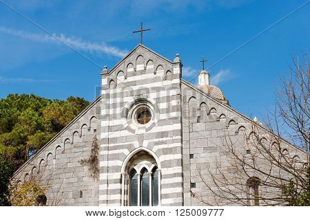 Facade of the church of San Lorenzo (St. Lawrence) 1098-1130 in the Portovenere (UNESCO world heritage site) La Spezia Liguria Italy