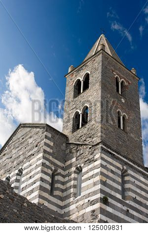 The ancient church of San Lorenzo (consecrated in 1198) in Portovenere or Porto Venere (UNESCO world heritage site) - La Spezia Liguria Italy