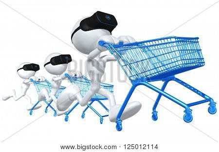 Virtual Reality VR Shopping Concept Goggles Glasses Headset Device 3D Illustration