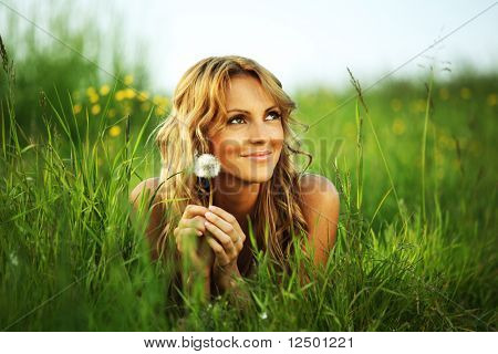 girl on green field