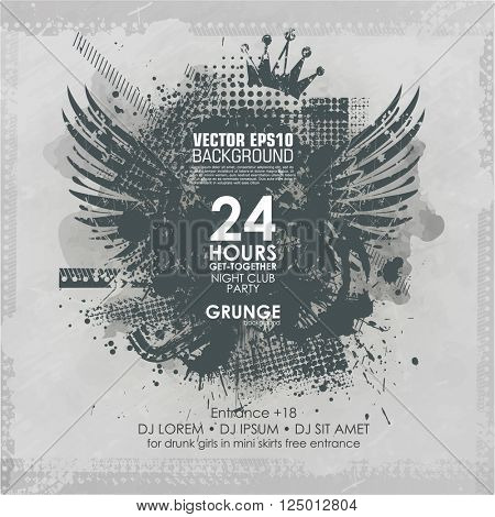 Template grunge poster for party.  Grunge banner with an inky dribble strip with copy space