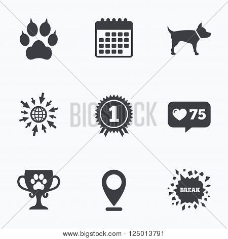 Calendar, like counter and go to web icons. Pets icons. Cat paw with clutches sign. Winner cup and medal symbol. Dog silhouette. Location pointer.