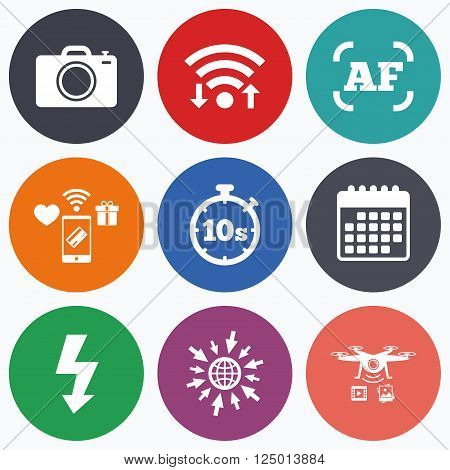 Wifi, mobile payments and drones icons. Photo camera icon. Flash light and autofocus AF symbols. Stopwatch timer 10 seconds sign. Calendar symbol.