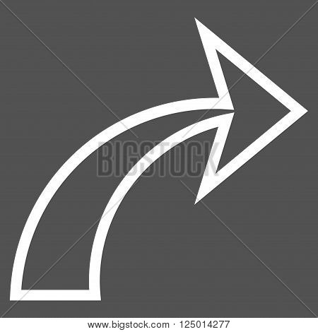 Redo vector icon. Style is thin line icon symbol, white color, gray background.