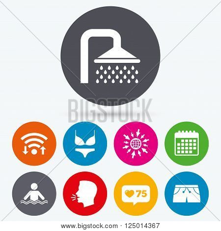 Wifi, like counter and calendar icons. Swimming pool icons. Shower water drops and swimwear symbols. Human stands in sea waves sign. Trunks and women underwear. Human talk, go to web.