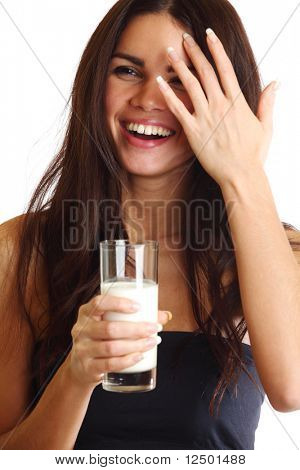 woman drink yogurt close up
