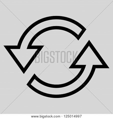 Sync Arrows vector icon. Style is stroke icon symbol, black color, light gray background.