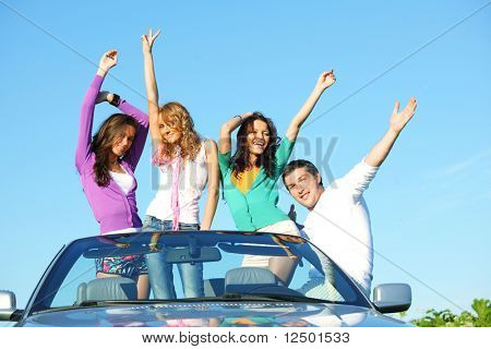 funey friends in dance car