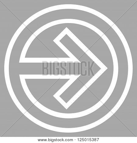 Import vector icon. Style is outline icon symbol, white color, silver background.
