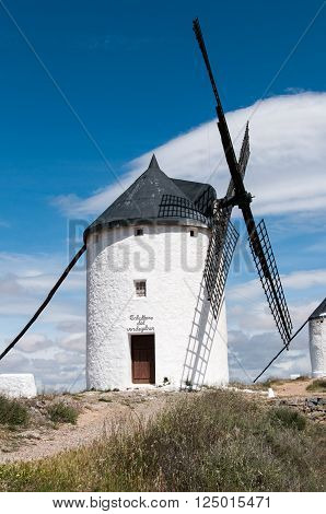 Don Quixote windmills at Consuegra Spain during the day