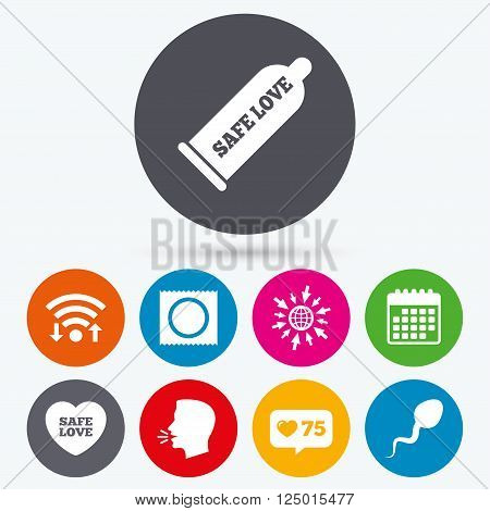 Wifi, like counter and calendar icons. Safe sex love icons. Condom and package symbol. Sperm sign. Fertilization or insemination. Human talk, go to web.