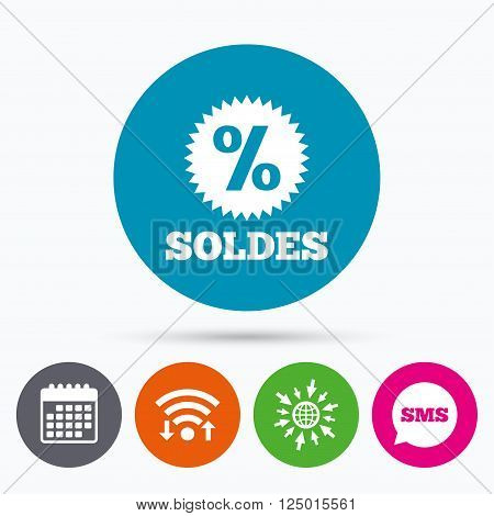 Wifi, Sms and calendar icons. Soldes - Sale in French sign icon. Star with percentage symbol. Go to web globe.