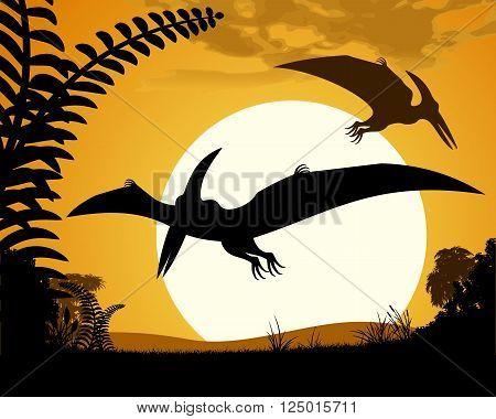 Dinosaur pterodactyl. Pterodactyls silhouette on sunset background. Vector illustration.
