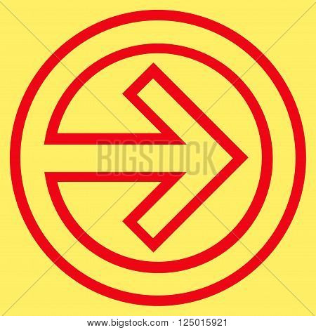Import vector icon. Style is thin line icon symbol, red color, yellow background.