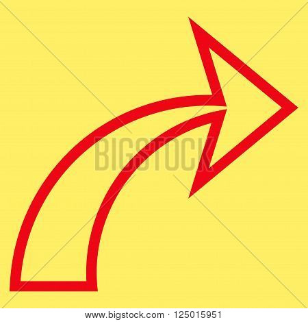 Redo vector icon. Style is thin line icon symbol, red color, yellow background.