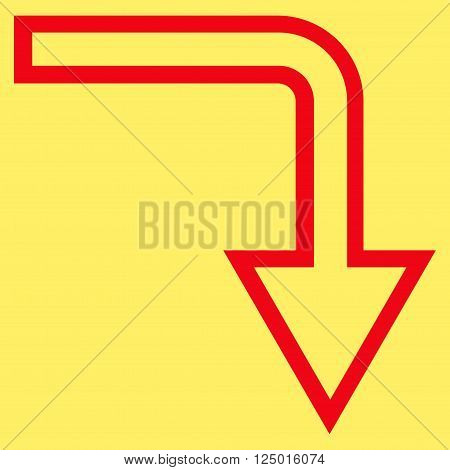Turn Down vector icon. Style is outline icon symbol, red color, yellow background.