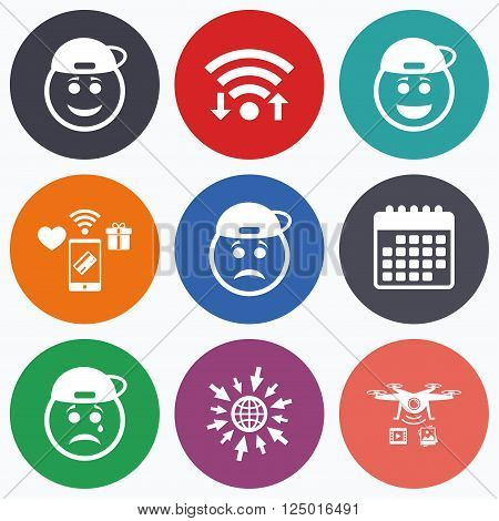 Wifi, mobile payments and drones icons. Rapper smile face icons. Happy, sad, cry signs. Happy smiley chat symbol. Sadness depression and crying signs. Calendar symbol.