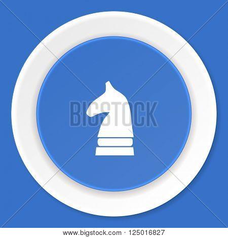 chess horse blue flat design modern web icon