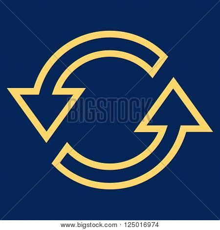 Sync Arrows vector icon. Style is thin line icon symbol, yellow color, blue background.
