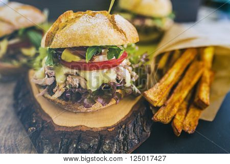 Pulled Pork burger with fresh vegetables and chips, Delicious homemade burger
