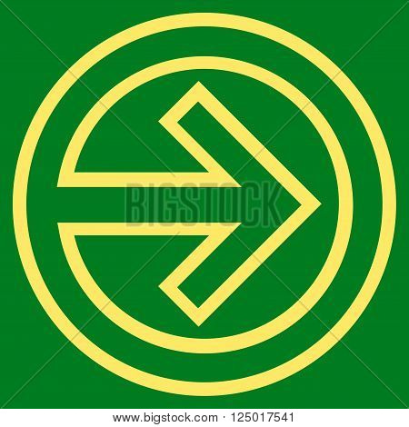 Import vector icon. Style is stroke icon symbol, yellow color, green background.