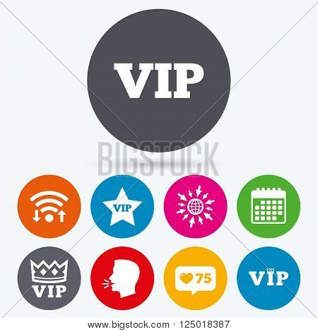 Wifi, like counter and calendar icons. VIP icons. Very important person symbols. King crown and star signs. Human talk, go to web.