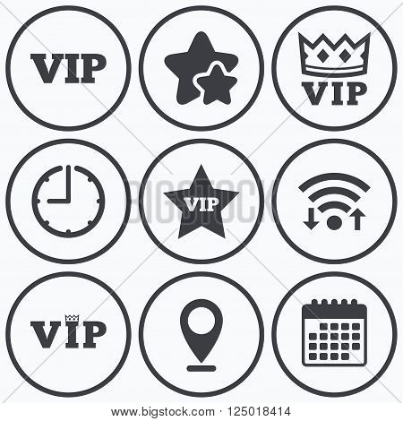 Clock, wifi and stars icons. VIP icons. Very important person symbols. King crown and star signs. Calendar symbol.