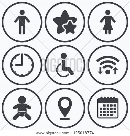 Clock, wifi and stars icons. WC toilet icons. Human male or female signs. Baby infant or toddler. Disabled handicapped invalid symbol. Calendar symbol.