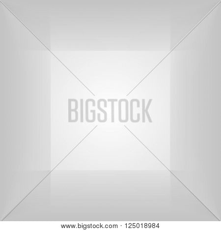Vector square lighbox. Lightbox with blank inner space. 3D gray lit empty Light room interior perspect view. Photobox inside.