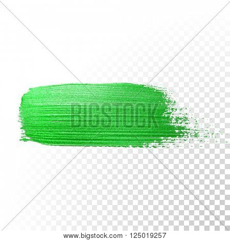 Green watercolor brush stroke. Vector Green splash line trace. Green oil paint smear on transparent background.